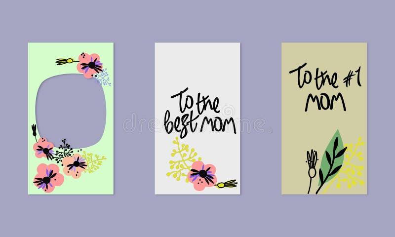 Fije de plantillas sociales de las historias de los medios Fondo floral en estilo escandinavo Saludos a mano A la mejor mam? libre illustration