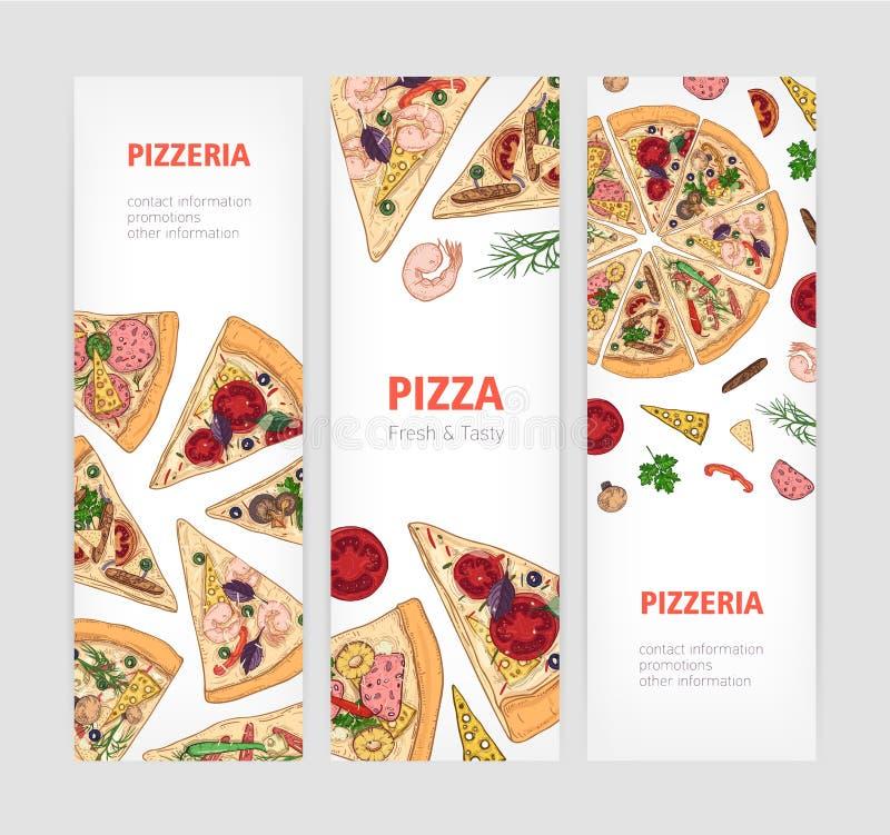 Fije de plantillas verticales de la bandera con el corte clásico apetitoso de la pizza en rebanadas y el lugar para el texto Ilus libre illustration
