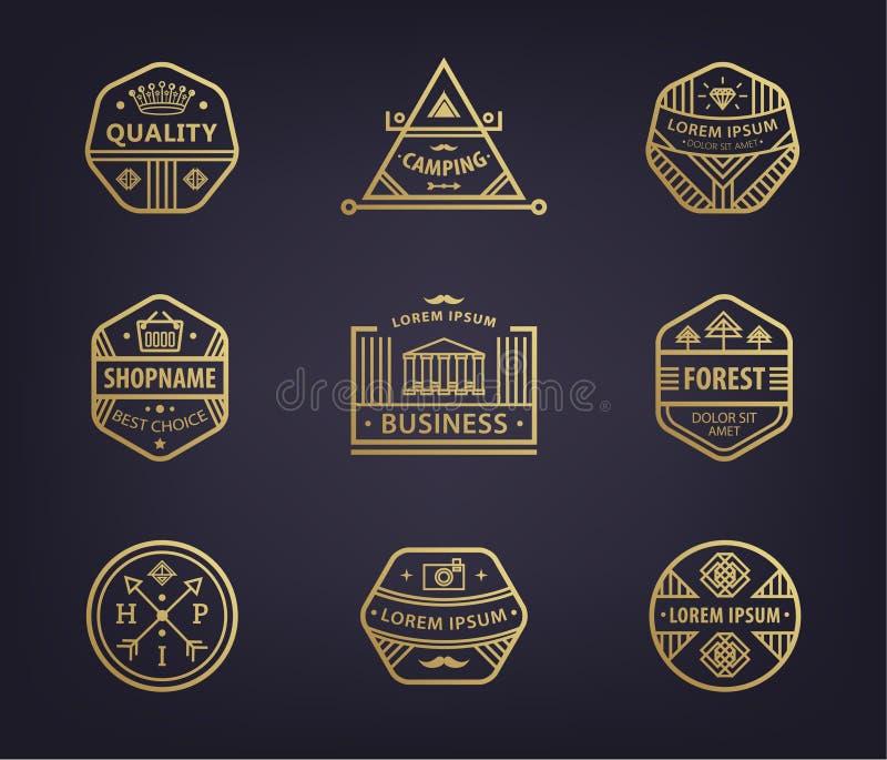 Fije de plantillas y de insignias lineares del logotipo del vector con, las insignias retras del diverso inconformista, iconos pa ilustración del vector