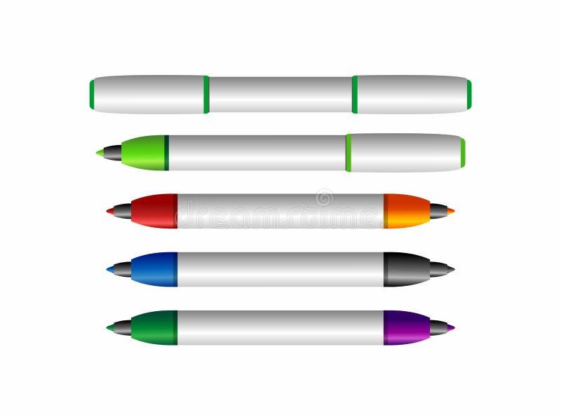 Fije de plumas sentidas coloridas stock de ilustración