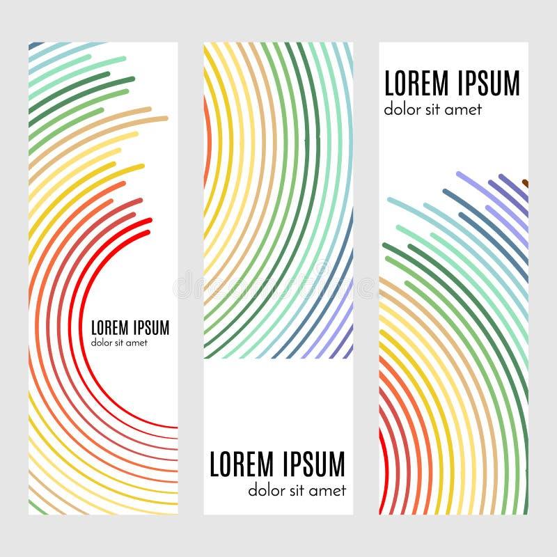 Fije de portadas verticales abstractas con las líneas curvadas stock de ilustración