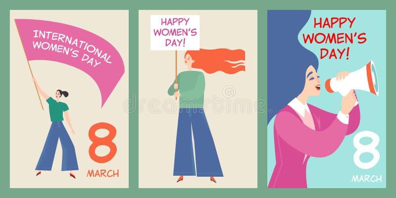 Fije de postales al día de las mujeres internacionales con los personajes de dibujos animados divertidos stock de ilustración