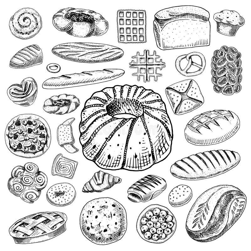 Fije de productos de la panadería y de pasteles Pan y empanada, bollos y tortas pasteles estilo dibujado mano grabado del vintage stock de ilustración