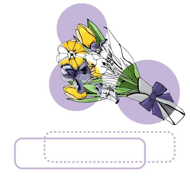 Fije de ramos con los tulipanes amarillos y el iris, los círculos de la lila y los marcos violetas Tinta exhausta de la mano y bo libre illustration