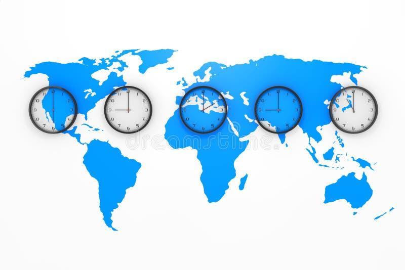 Fije de relojes con diversa hora mundial con el mapa del mundo azul representación 3d stock de ilustración