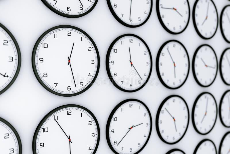 Fije de relojes con diversa hora mundial representación 3d ilustración del vector