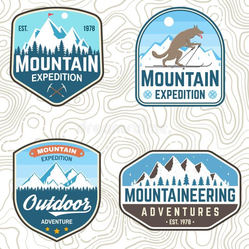 Fije de remiendos de la expedición de la montaña Vector Concepto para la camisa o la insignia, impresi?n, sello del club alpino T ilustración del vector