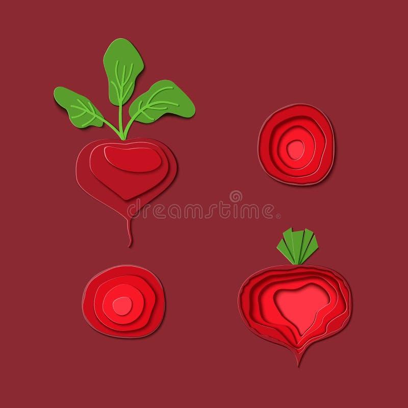 Fije de remolacha roja del corte de papel Diseño del arte de papel del vector bajo la forma de conjunto y rebanada maduros de las libre illustration
