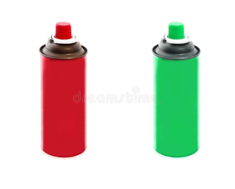 Fije de rojo y los colores verdes rocían las latas de la pintura aisladas en el fondo blanco imagen de archivo libre de regalías