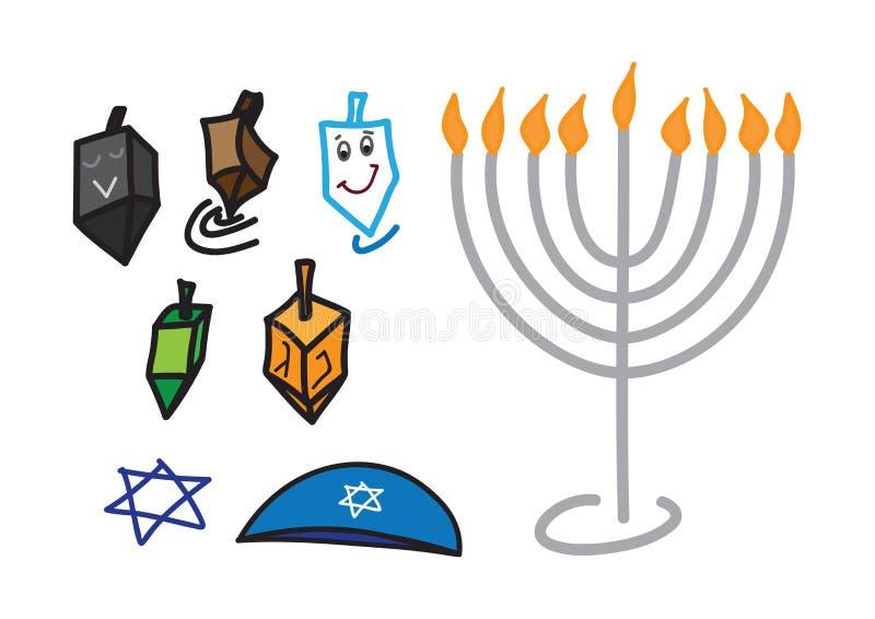Fije de símbolos exhaustos de la mano judía del día de fiesta de Jánuca del color stock de ilustración
