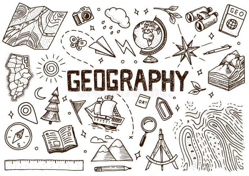 Fije de símbolos de la geografía Equipos para las banderas de la web Bosquejo del esquema del vintage para las banderas de la web libre illustration
