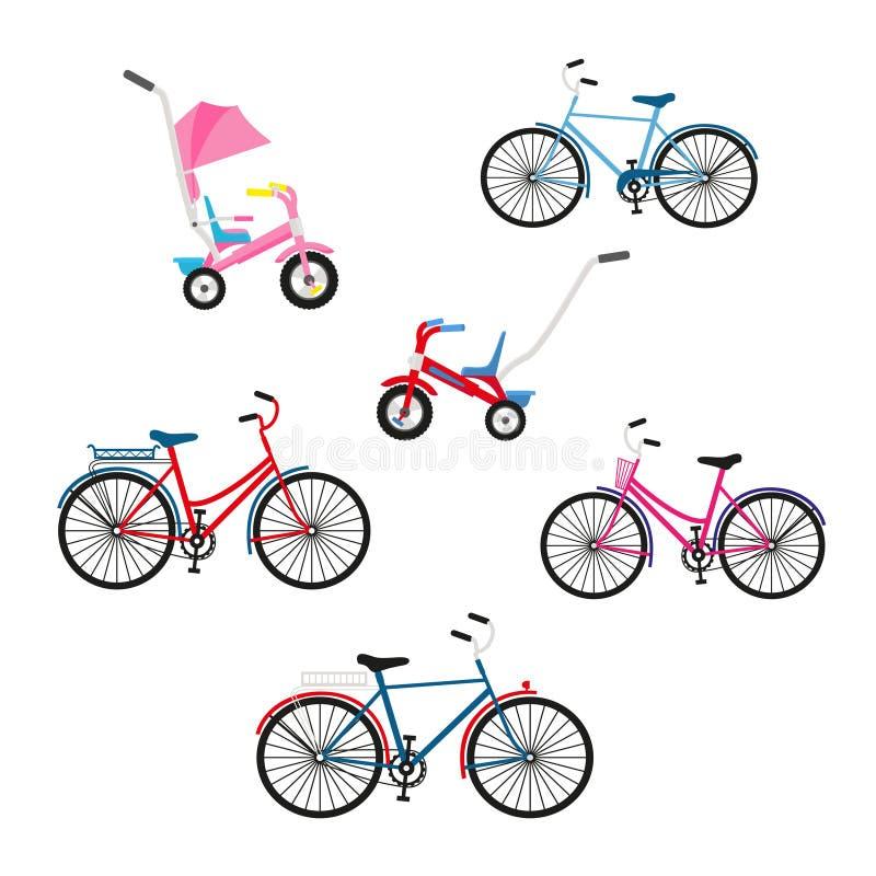 Fije de seis bicicletas para el ciclo de la familia Ejemplo plano del vector del color de bicicletas aisladas libre illustration