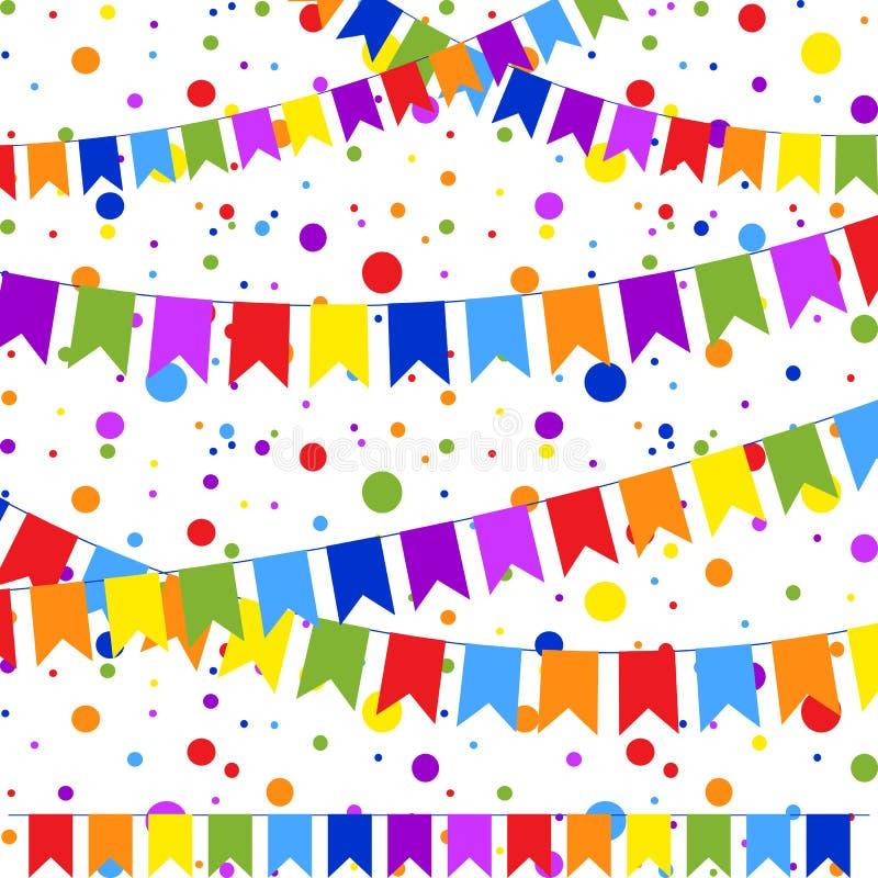 Fije de seis guirnaldas coloreadas planas aisladas bajo la forma de banderas en una cuerda En el fondo del confeti colorido Conve ilustración del vector