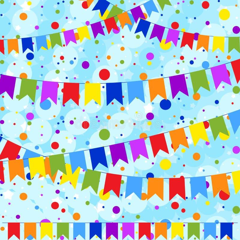 Fije de seis guirnaldas coloreadas planas aisladas bajo la forma de banderas en una cuerda En el fondo del confeti colorido Conve libre illustration