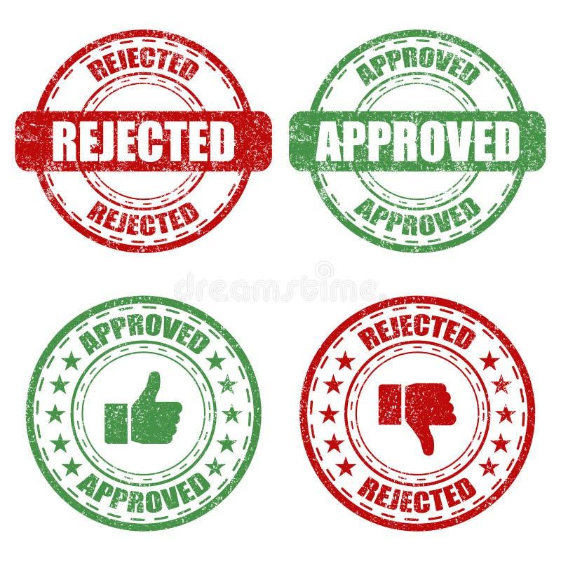 Fije de sello de goma aprobado y rechazado en un fondo blanco ilustración del vector