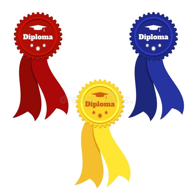 Fije de sellos con las cintas para el ejemplo plano del vector graduado de los diplomas ilustración del vector