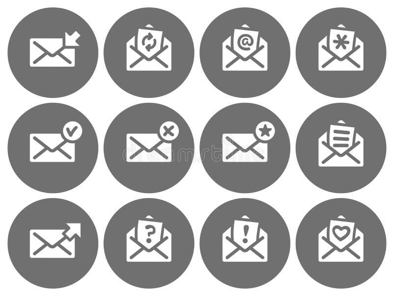 Fije de serie gris de los iconos redondos planos del correo electrónico stock de ilustración