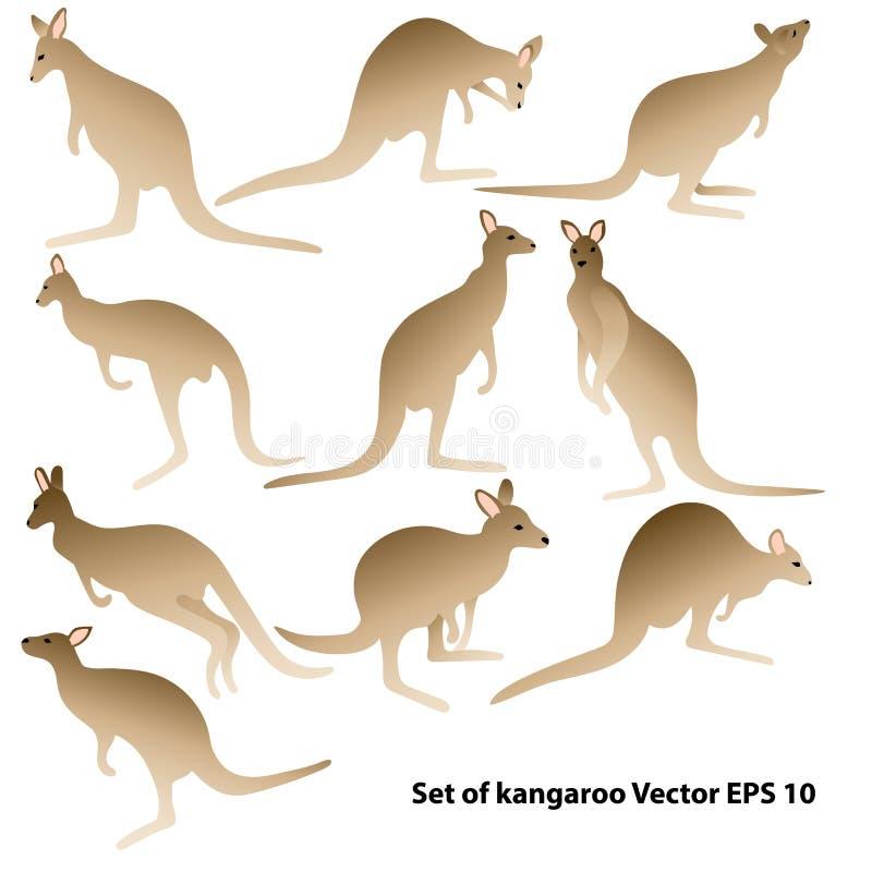 Fije de siluetas del canguro en diversas posturas libre illustration