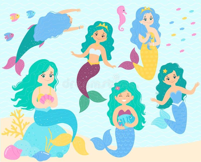 Fije de sirena-princesas de la historieta con las coronas Bajo el mar libre illustration