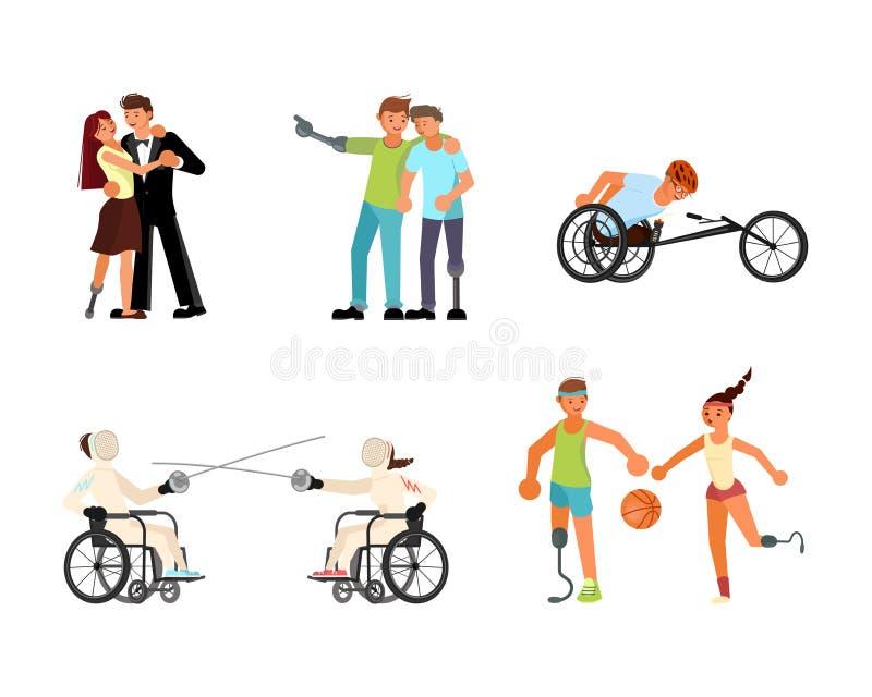 Fije de sportsmens de los hombres y de las mujeres stock de ilustración