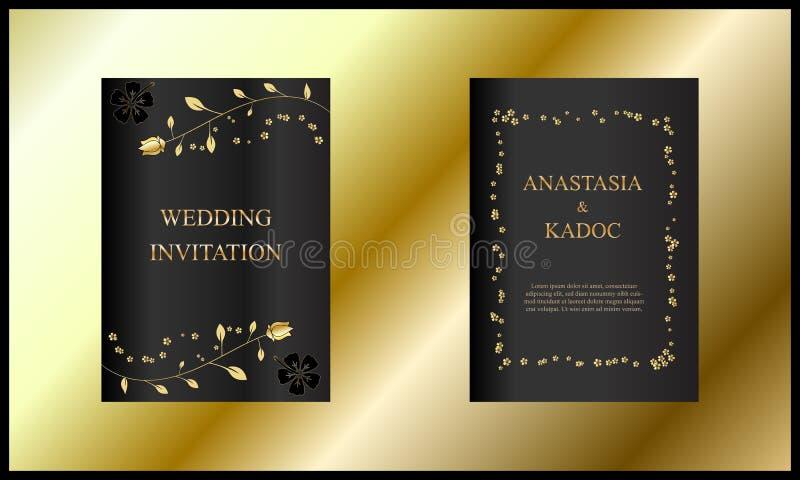 Fije de tarjeta de la invitación de la boda, de diseño con el cepillo floral, de la flor, del negro elegante y del color oro, vin ilustración del vector