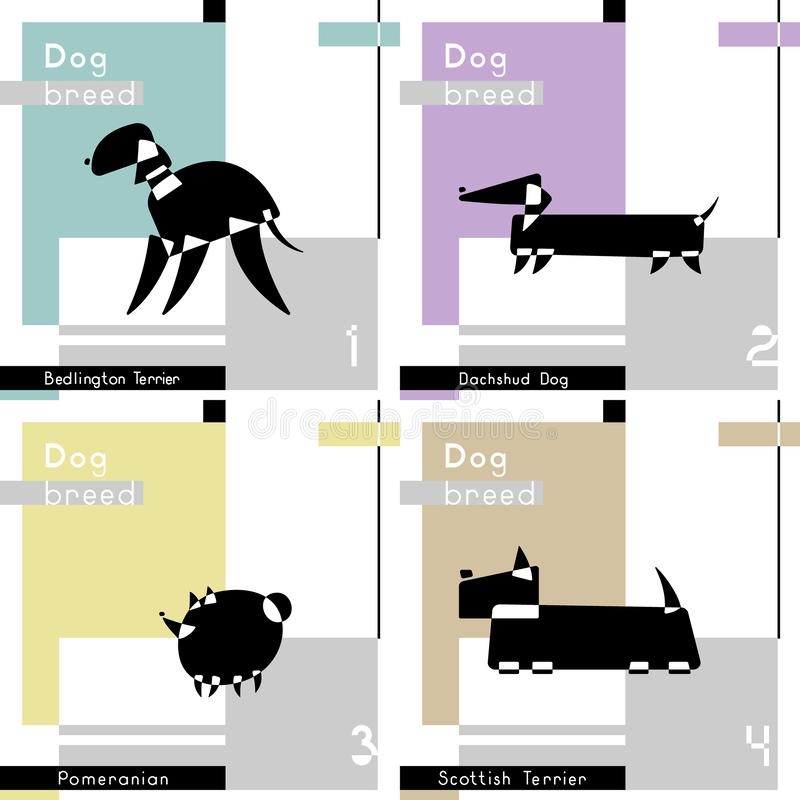Fije de tarjetas con las razas estilizadas del perro Bedlington Terrier, perro de Dachshud, Terrier escocés y Pomeranian libre illustration