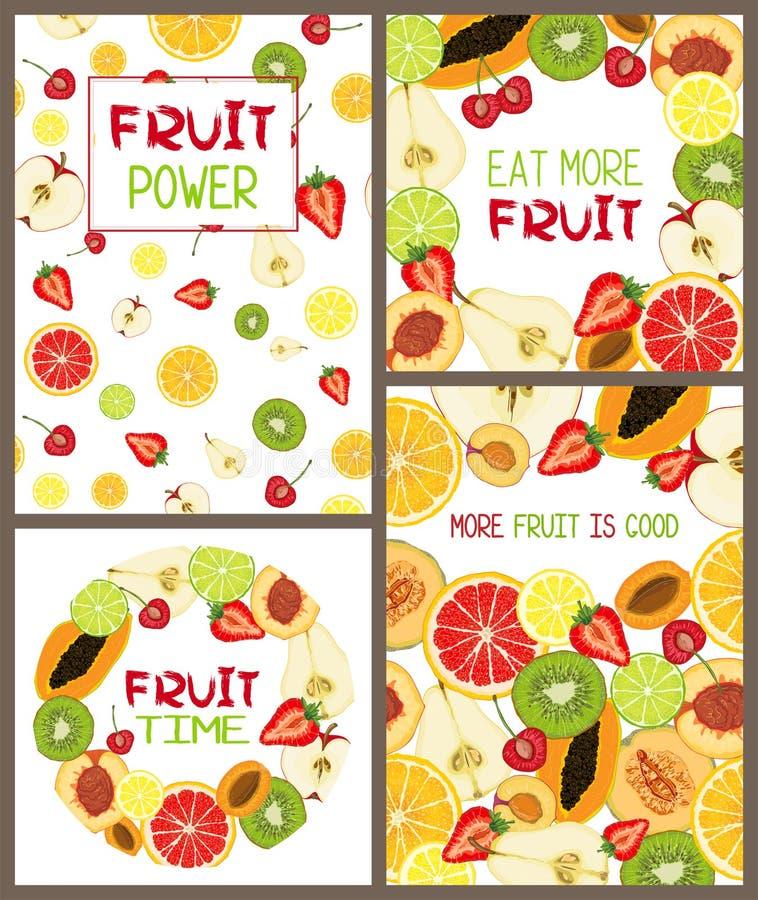 Fije de tarjetas del vector con las rebanadas de la fruta y el mensaje de texto naturales libre illustration