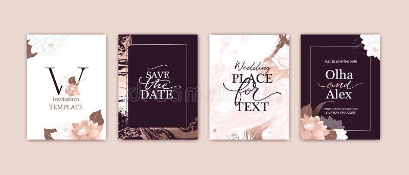 Fije de tarjetas elegantes con rosa, ruborícese las peonías Textura del m?rmol del oro de Rose La boda, ahorra el dise?o de la fe ilustración del vector