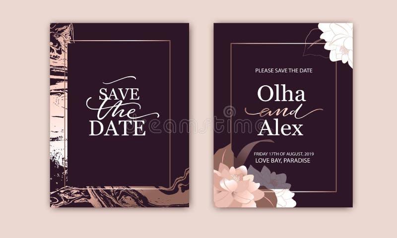 Fije de tarjetas elegantes con rosa, ruborícese las peonías Textura del m?rmol del oro de Rose La boda, ahorra el dise?o de la fe libre illustration