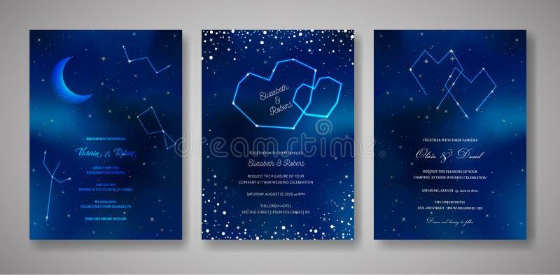 Fije de tarjetas de la invitación de la boda de la noche estrellada, ahorre la fecha Celestial Template de la galaxia, espacio, e ilustración del vector