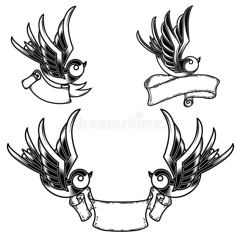 Fije de tatuaje del estilo del vintage con el fondo de los pájaros y de las cintas del trago Diseñe el elemento para el logotipo, stock de ilustración