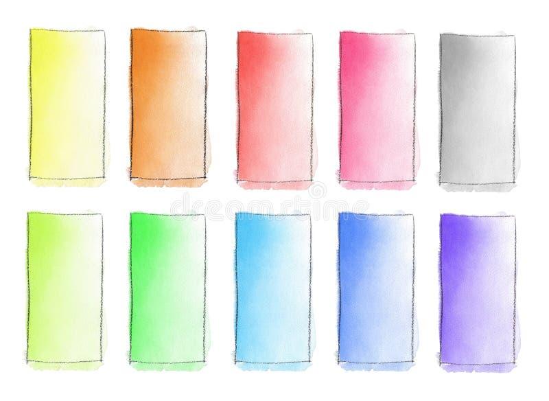 Fije de terraplén de la pendiente de 10 acuarelas del color al blanco para el fondo Textura del papel de la acuarela Un rectángul libre illustration