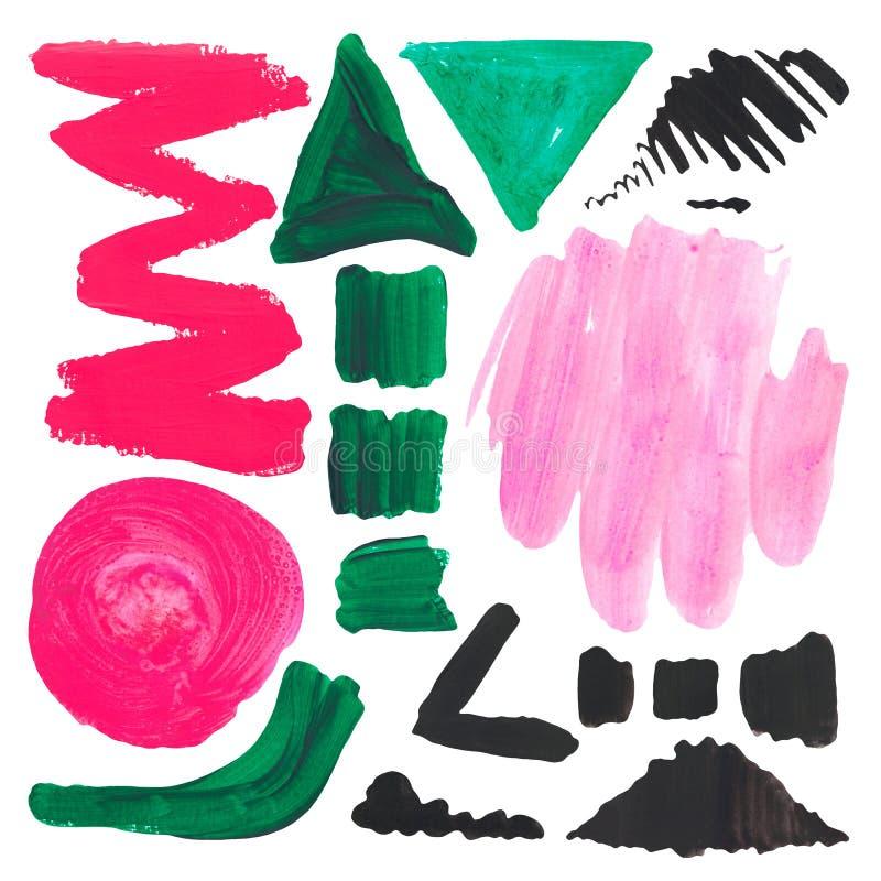Fije de texturas brillantes de los puntos del color en el fondo aislado blanco Líneas verde negro rosado de los movimientos de lo stock de ilustración