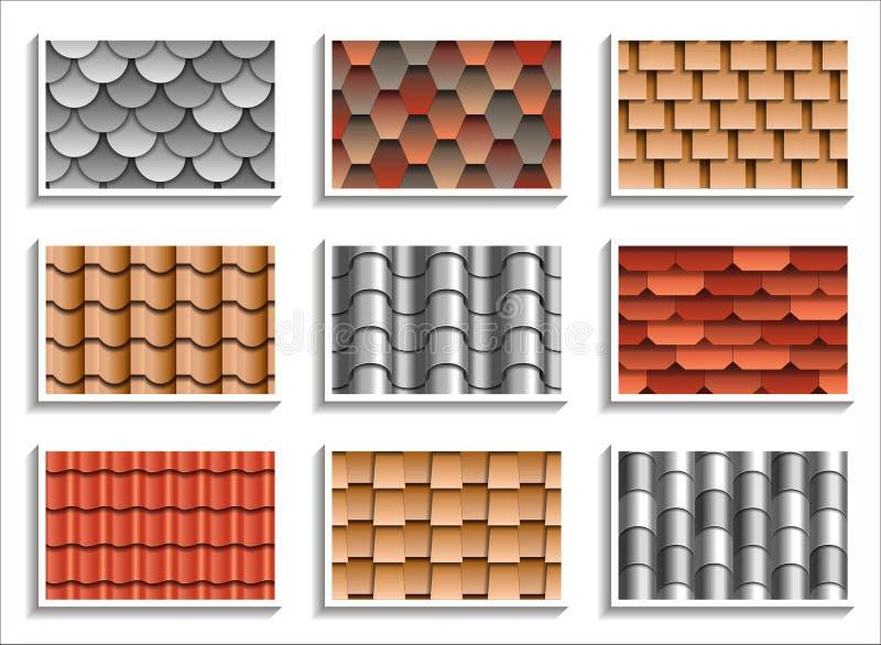 Fije de texturas inconsútiles de las tejas de tejado modelos 3D de los materiales del tejado stock de ilustración