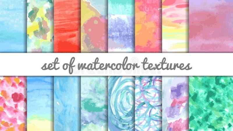 Fije de 16 texturas de la acuarela de los multicolors ilustración del vector