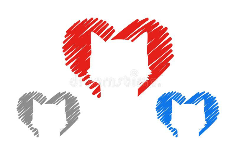 Fije de tres corazones en rojo, los colores del gris y del bue con los animales domésticos corazones exhaustos de la mano con el  stock de ilustración