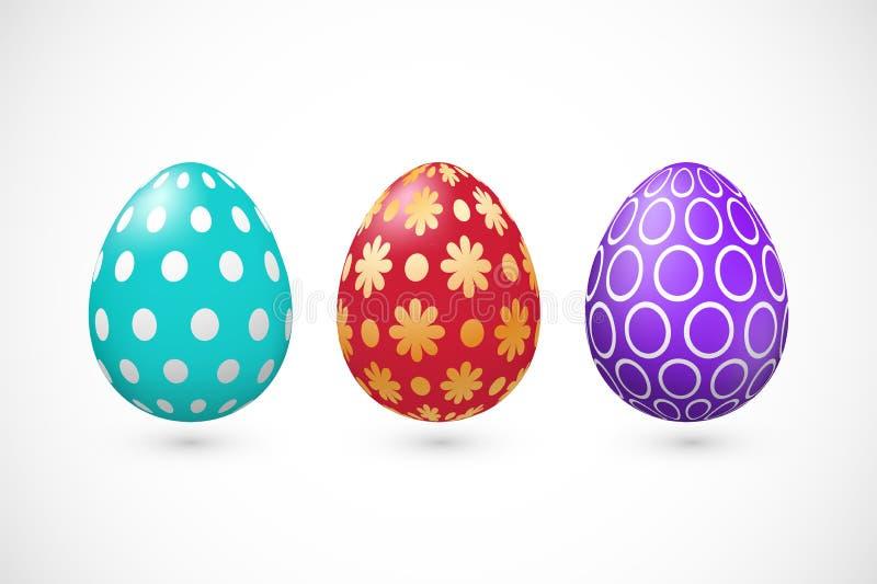 Fije de tres huevos de Pascua coloridos del vector con el modelo ilustración del vector