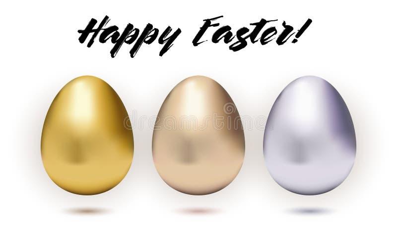 Fije de tres huevos de Pascua metálicos stock de ilustración