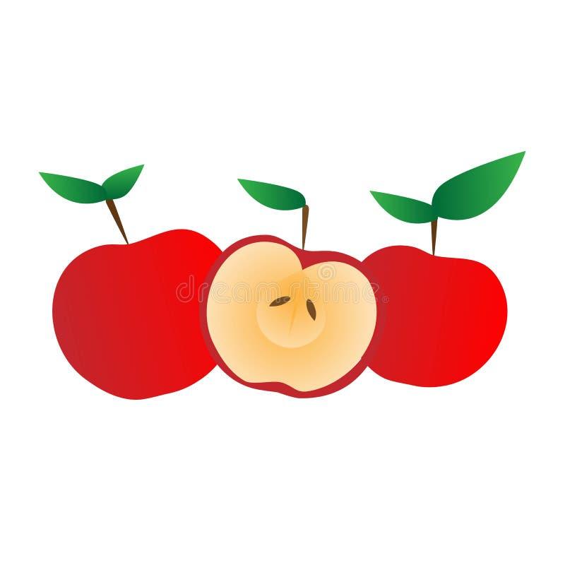 Fije de tres manzanas coloridas de la historieta roja ilustración del vector