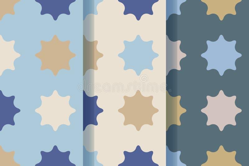 Fije de tres modelos inconsútiles con las estrellas en estilo retro Tela de materia textil, impresión y muchas otras áreas de dis libre illustration