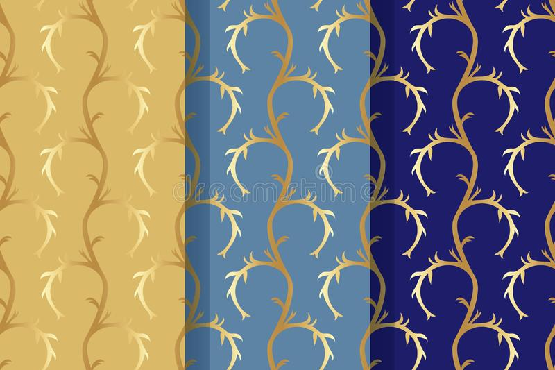 Fije de tres modelos inconsútiles con los elementos florales abstractos en estilo retro Tela de materia textil, impresión y mucha ilustración del vector