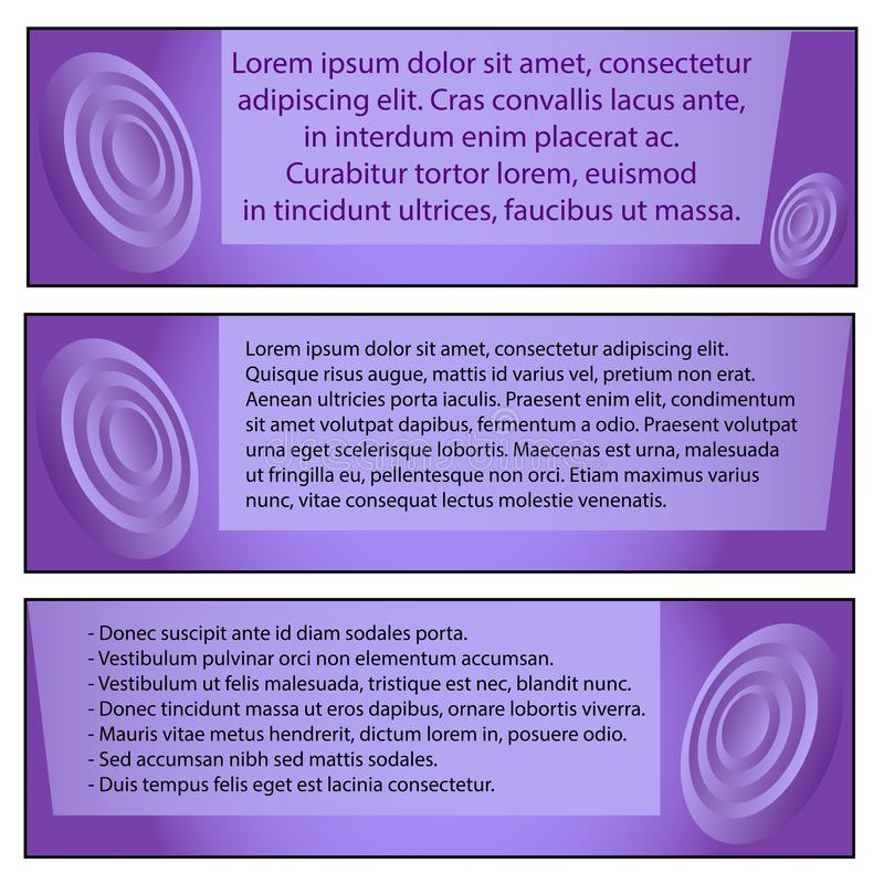 Fije de tres plantillas modernas de la iconografía para el negocio, lorem ipsum del texto en un fondo púrpura stock de ilustración