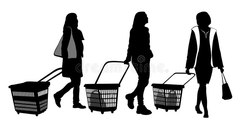 Fije de tres siluetas de las mujeres de las compras libre illustration