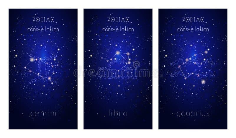 Fije de tres tarjetas con las muestras del zodiaco, constelaciones astrol?gicas y dar las letras exhaustas contra el cielo estrel libre illustration