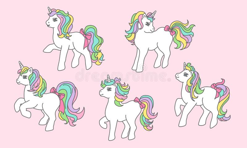 Fije de unicornio lindo en diversas actitudes Historieta dibujada mano ilustración del vector