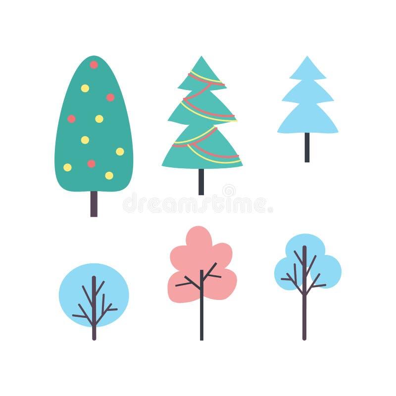 Fije de vector de los iconos de los árboles del invierno Plantas del Año Nuevo libre illustration