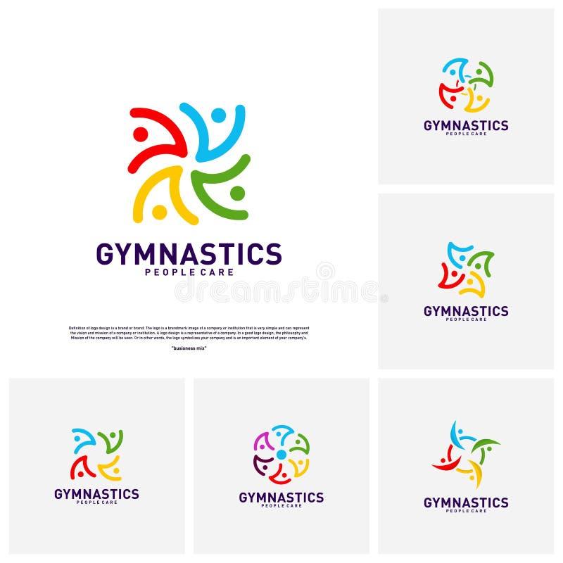 Fije de vector sano del concepto de diseño del logotipo de la gente Plantilla del logotipo de la gimnasia Símbolo del icono del c libre illustration