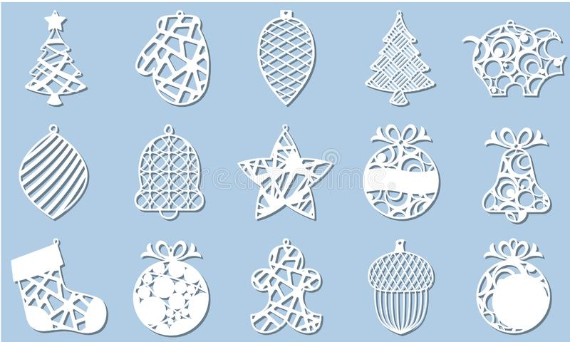 Fije del árbol de navidad moderno El juguete del Año Nuevo para el corte del laser Ilustración del vector libre illustration