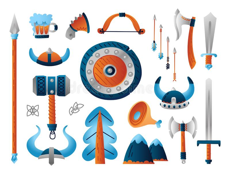 Fije del arma de vikingo Colección divertida de arsenal militar de la historieta ilustración del vector