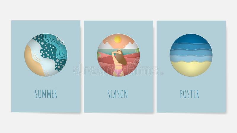Fije del cartel del verano en conceptos del fondo en el estilo cortado de papel stock de ilustración